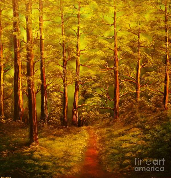 Fores Poster featuring the painting The Pine Tree Forest-original Sold-buy Giclee Print Nr 34 Of Limited Edition Of 40 Prints by Eddie Michael Beck