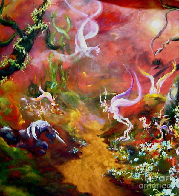 Faeries Poster featuring the painting The Unicorn by Michelle Dommer
