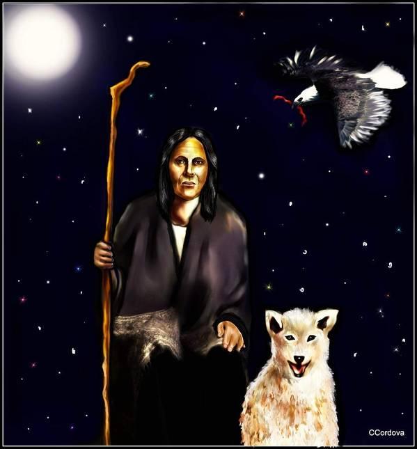 Shaman Poster featuring the digital art The World Of A Shaman by Carmen Cordova