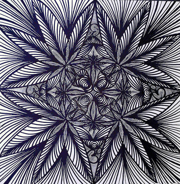 Mushrooms Shrooms Weed Pot Leaf Marijuana Third Eye Sky Legalize It Black And White Enlightenment Enlighten Open Mind Hippy Trippy Fractal Crazy Line Work Poster featuring the drawing Thinkin Green by Sarah Yencer