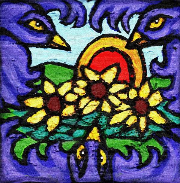 Crows Poster featuring the painting Three Crows And Sunflowers by Genevieve Esson