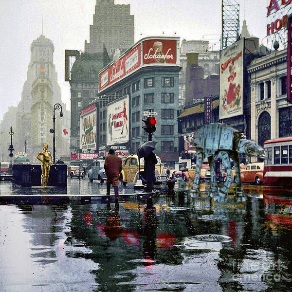 1943 Poster featuring the photograph Times Square 1943 reloaded by HELGE Art Gallery