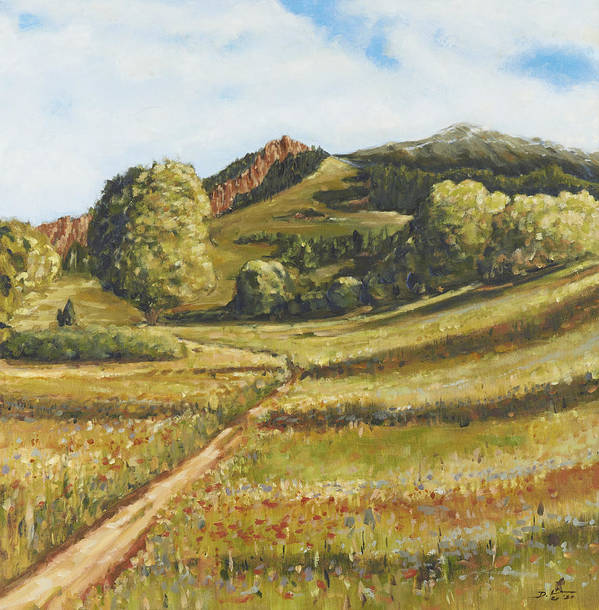 Colorado Poster featuring the painting Trail To The Peak by David Llanos