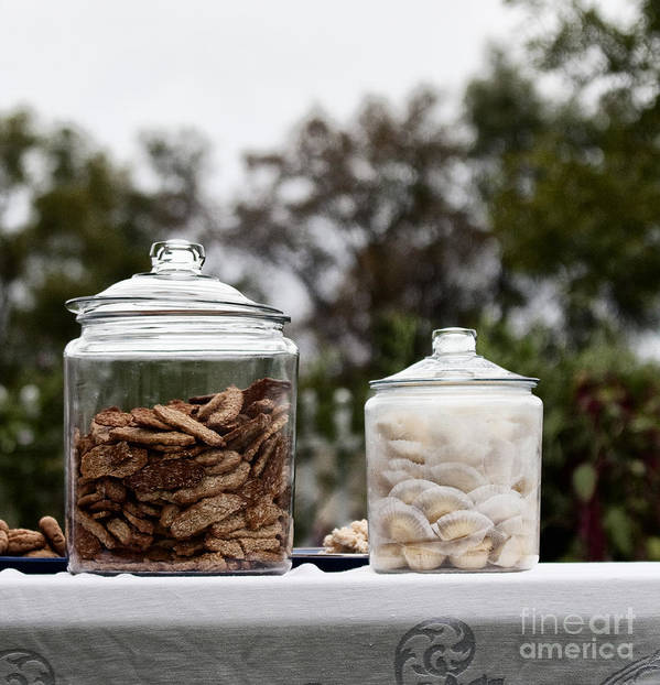 Still Life; Cookies; Jar; Outside; Table; Lace; Vintage; Sweets; Treats; Sale; Picnic; Two; Yummy; Food; Lids; Closed; Table Cloth; Outdoors; Bake; Baked Goods; Oatmeal; Sky; Overcast; Glass; Picnic Poster featuring the photograph Treats by Margie Hurwich