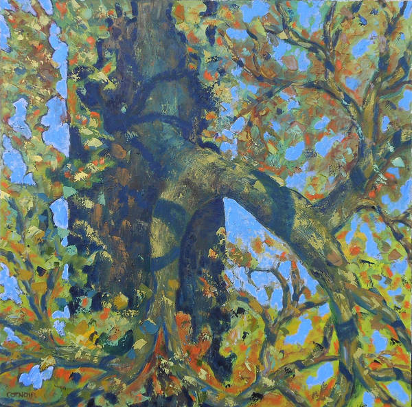 Tree Poster featuring the painting Tree With Green Leaves by Rosemary Cotnoir