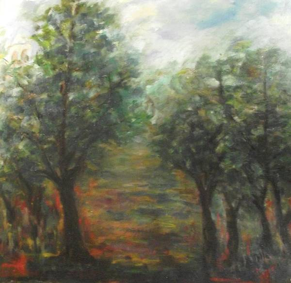 Sunflowers Poster featuring the painting Trees by Milla Nuzzoli