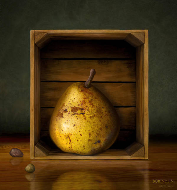 Pear Poster featuring the digital art Tribute To Magritte by Bob Nolin