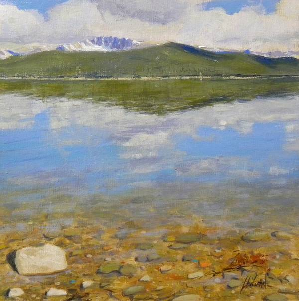 Rocky Mountains Poster featuring the painting Turquoise Lake by Greg Clibon