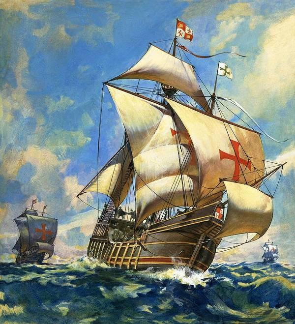 Sailing Ship Poster featuring the drawing Unidentified Sailing Ships by Andrew Howat