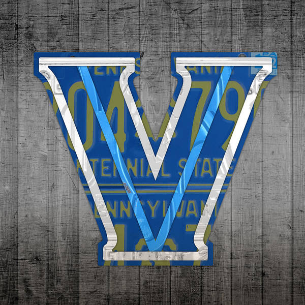 Villanova Poster featuring the mixed media Villanova Wildcats College Sports Team Retro Vintage Recycled Pennsylvania License Plate Art by Design Turnpike