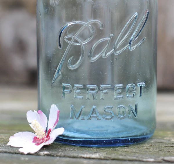 Vintage Ball Perfect Mason Blue Poster featuring the photograph Vintage Ball Perfect Mason Blue by Terry DeLuco