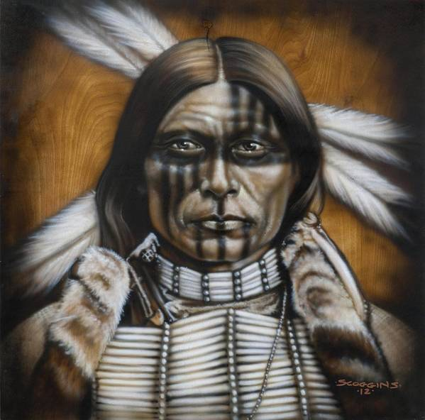Native American Poster featuring the painting Warpaint by Timothy Scoggins