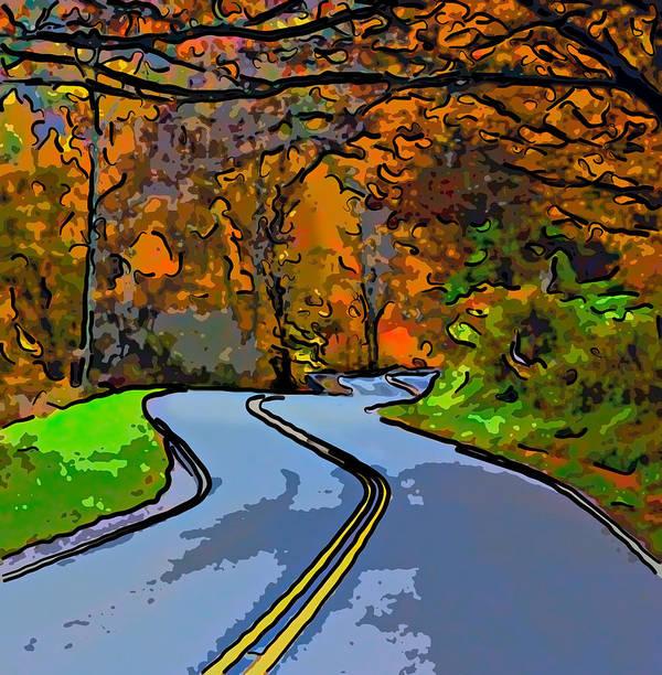 West Virginia Poster featuring the photograph West Virginia Curves 2 Line Art by Steve Harrington