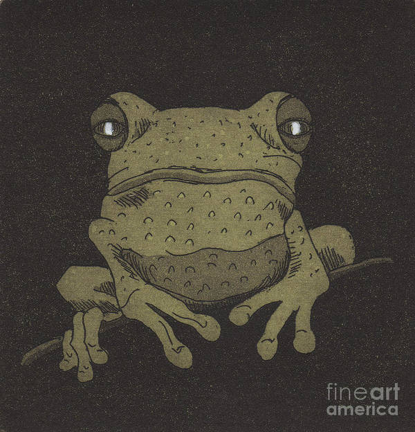 Frog. Green Poster featuring the relief Who You Lookin' At ? by Suzette Broad