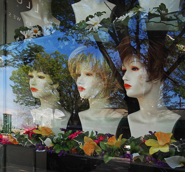 Window Poster featuring the photograph Wig Shop Window by John Cardamone