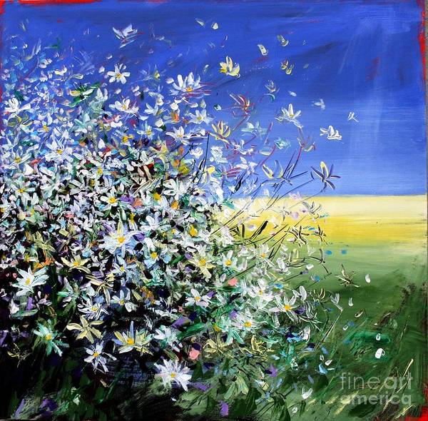 Daisies Poster featuring the painting Wild Daisies by Mario Zampedroni