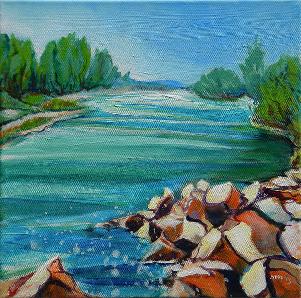 Blue Poster featuring the painting Willamette River 1.2 by Pam Van Londen