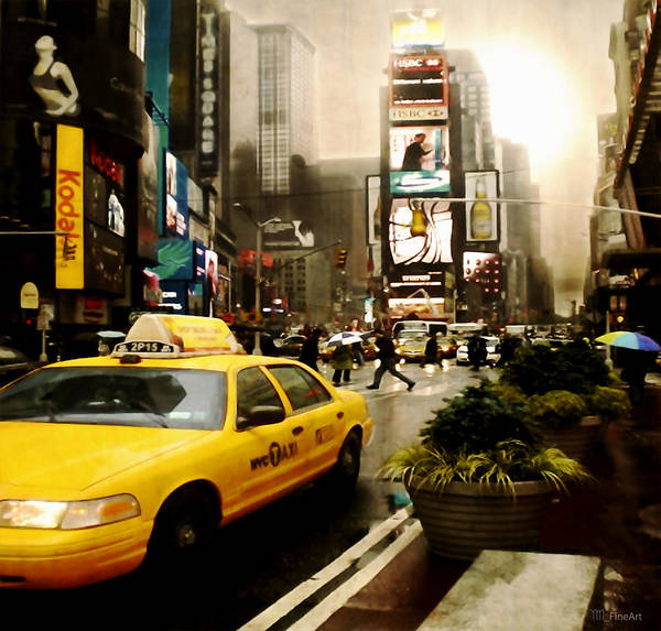 New York Poster featuring the photograph Yelow Cab At Time Square New York by Yvon van der Wijk