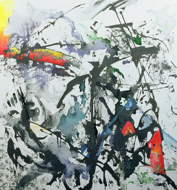 Abstract; Black; Splashes Poster featuring the painting You're So Different by Thomas Hampton