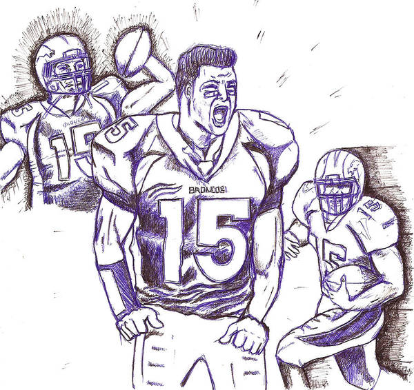 Sports Poster featuring the drawing Tebow Time Let's Go by HPrince De Artist