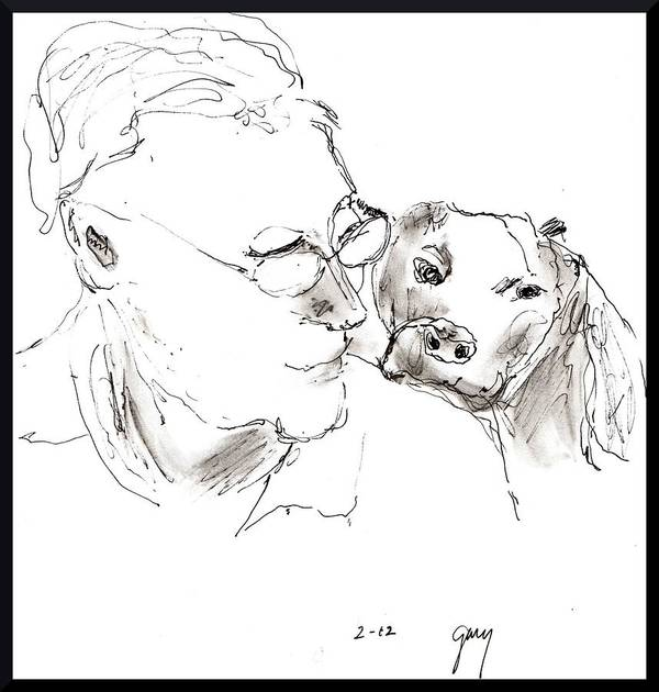 Portrait Poster featuring the painting Jeff And Dog by Gary Kirkpatrick