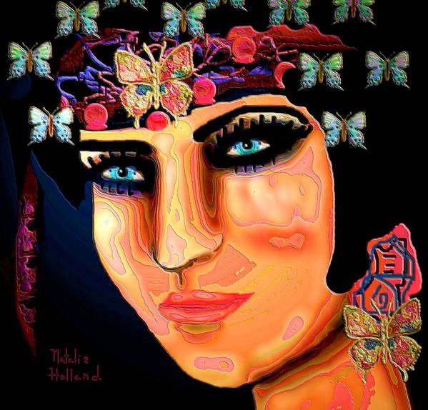 Madame Butterfly Poster featuring the mixed media Madame Butterfly by Natalie Holland
