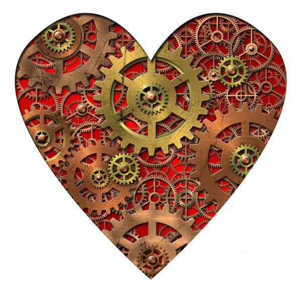 Heart Poster featuring the digital art Mechanical Heart by Michal Boubin