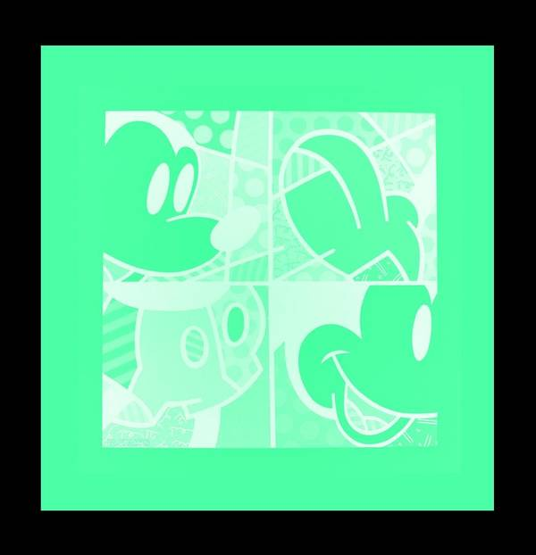 Mickey Mouse Poster featuring the photograph Mickey In Negative Light Green by Rob Hans