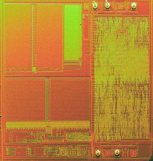Integrated Circuit Poster featuring the photograph Microchip, Sem by Power And Syred