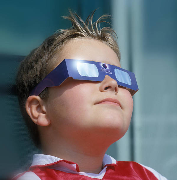 Viewing Glasses Poster featuring the photograph Watching Solar Eclipse by Detlev Van Ravenswaay