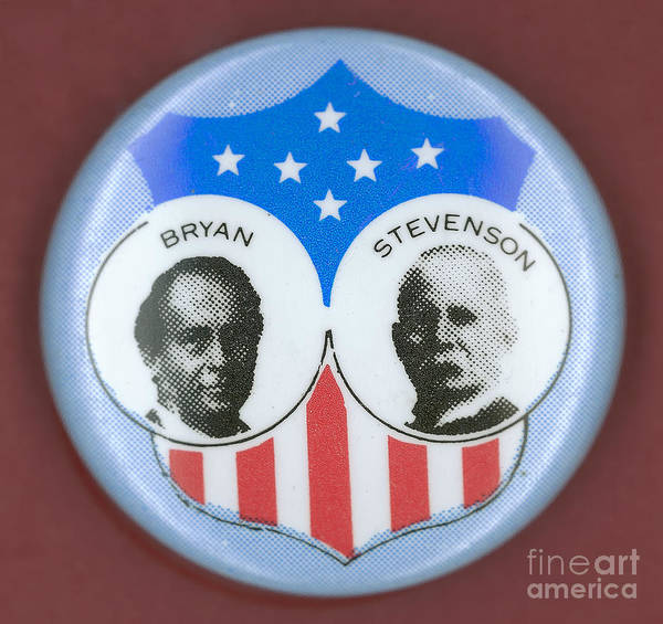 1900 Poster featuring the photograph Bryan Campaign Button by Granger