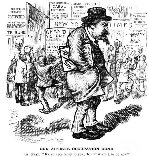 1872 Poster featuring the photograph Thomas Nast (1840-1902) by Granger