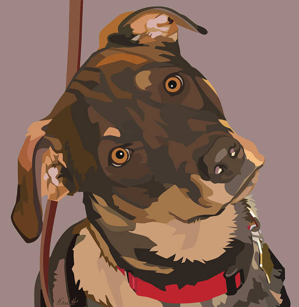 Mixed Breed Dog Poster featuring the digital art Red by Kris Hackleman