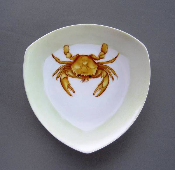 Porcelain Poster featuring the ceramic art 866 2 Part Of Crab Set 1 by Wilma Manhardt