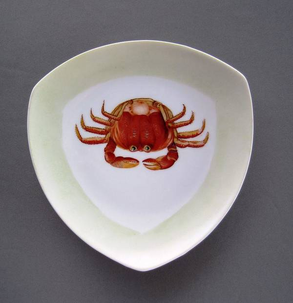 Porcelain Poster featuring the ceramic art 866 3 Part Of Crab Set 1 by Wilma Manhardt
