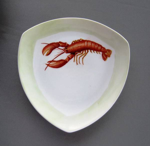 Porcelain Poster featuring the ceramic art 866 5 Part Of The Crab Set 866 by Wilma Manhardt