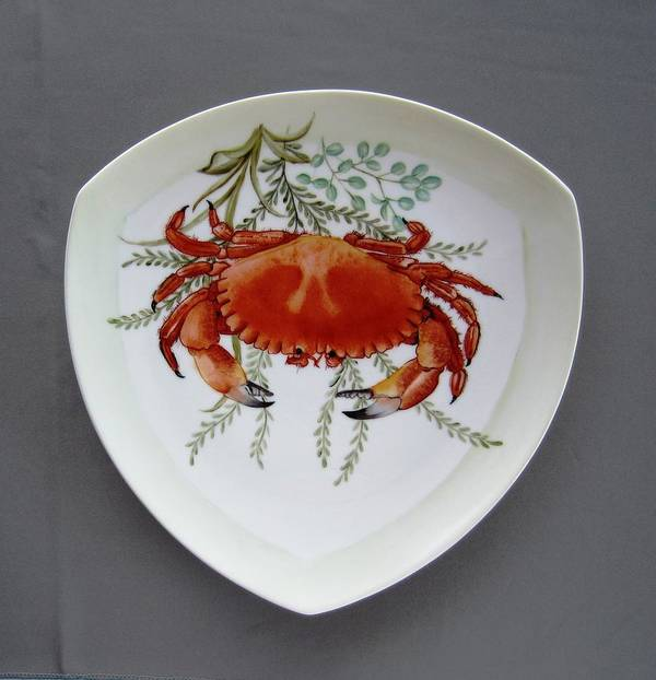 Porcelain Poster featuring the ceramic art 866 6 Part Of Crab Set 866 by Wilma Manhardt