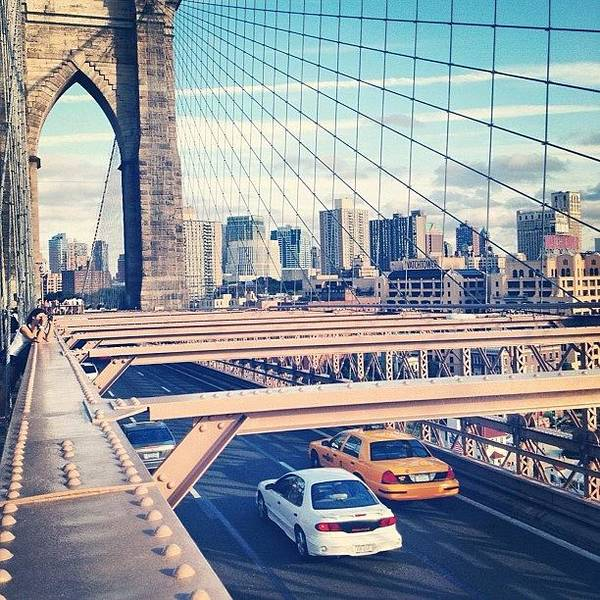 Summer Poster featuring the photograph Another Day On Brooklyn Bridge by Randy Lemoine