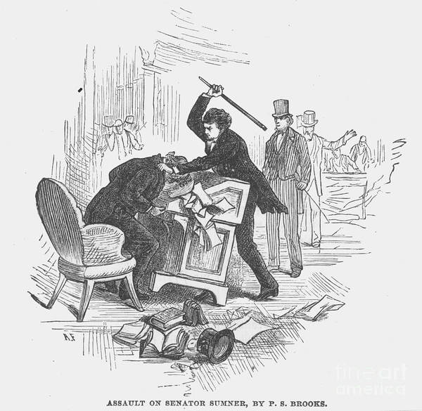 1856 Poster featuring the photograph Attack On Sumner, 1856 by Granger