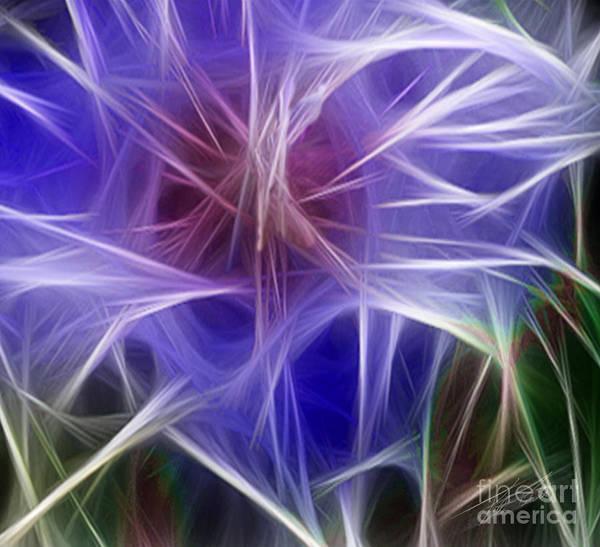 Blue Poster featuring the digital art Blue Hibiscus Fractal Panel 5 by Peter Piatt