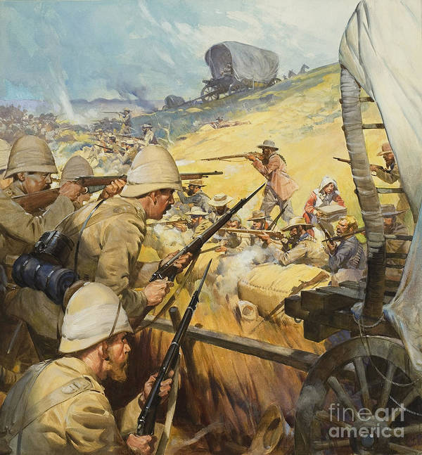 British Poster featuring the painting Boer War Skirmish by James Edwin McConnell