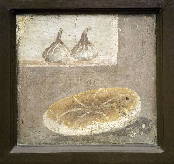 Food Poster featuring the photograph Bread And Figs, Roman Fresco by Sheila Terry