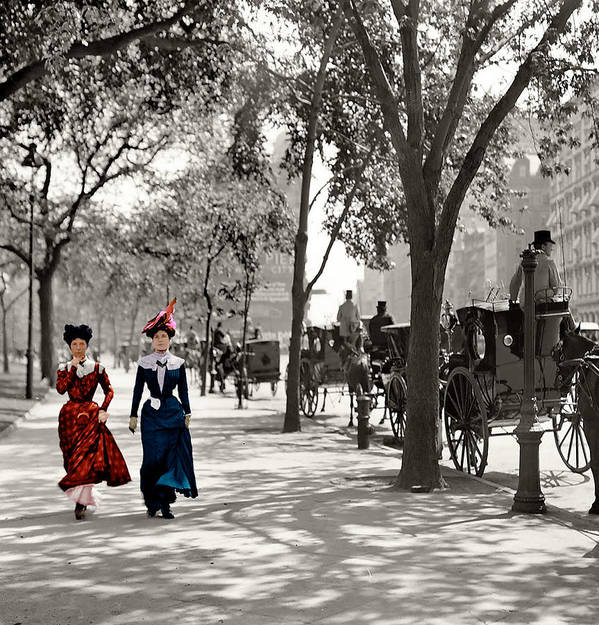 New York City Cityscape Woman Women Catwalk 1901 Photograph Vintage 1901 Poster featuring the photograph Catwalk In New York 1901 by Steve K