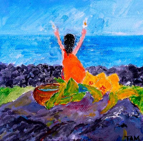 Dolphins Poster featuring the painting Ceremony Kukuipuka by Tamara Tavernier