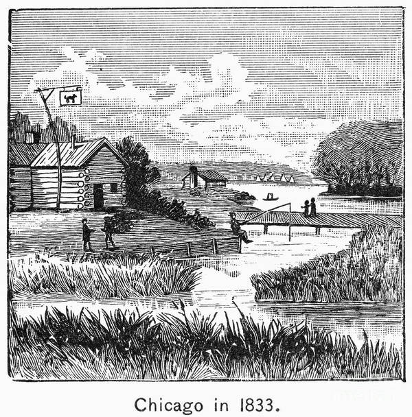 1833 Poster featuring the photograph Chicago, 1833 by Granger