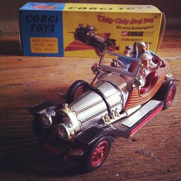 Car Poster featuring the photograph Chitty Chitty Bang Bang Corgi Toy by Katie Cupcakes