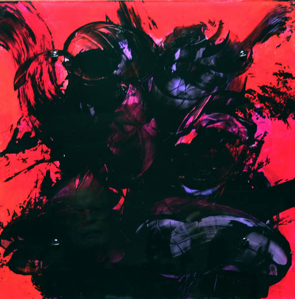 Abstract Poster featuring the painting Damn Ms. Scarlet 1 by Mordecai Colodner