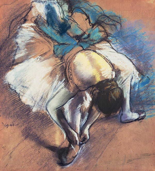 Edgar Degas Poster featuring the pastel Dancer Fastening Her Pump by Edgar Degas