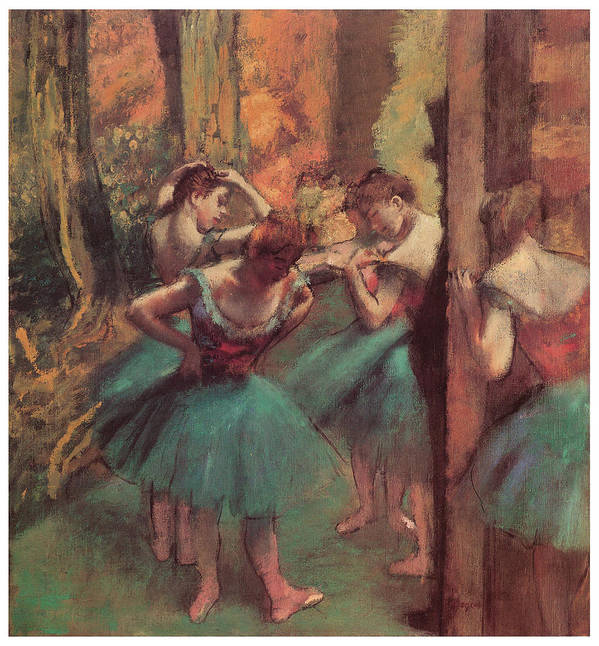 Dancers Pink And Green Poster featuring the pastel Dancers Pink And Green by Edgar Degas