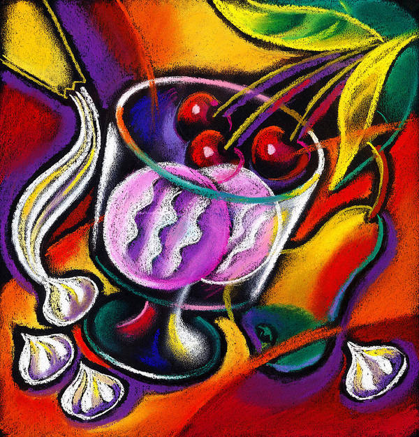 Bloom Blooming Blossom Blossoming Bouquet Cake Celebrate Celebration Coffee Coffee Cup Decorate Decoration Decorations Dessert Dine Dining Entertain Entertainment Event Fine Dining Flower Flowers Food Formal Frosting Harp Meal Music Musical Musical Instrument Pastry Restaurant Sweets Table Tabletop Tea Vase Decorative Painting Abstract Art Poster featuring the painting Dessert by Leon Zernitsky